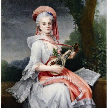 Frau spielt Gitarre. Gemälde von François-Hubert Drouais.