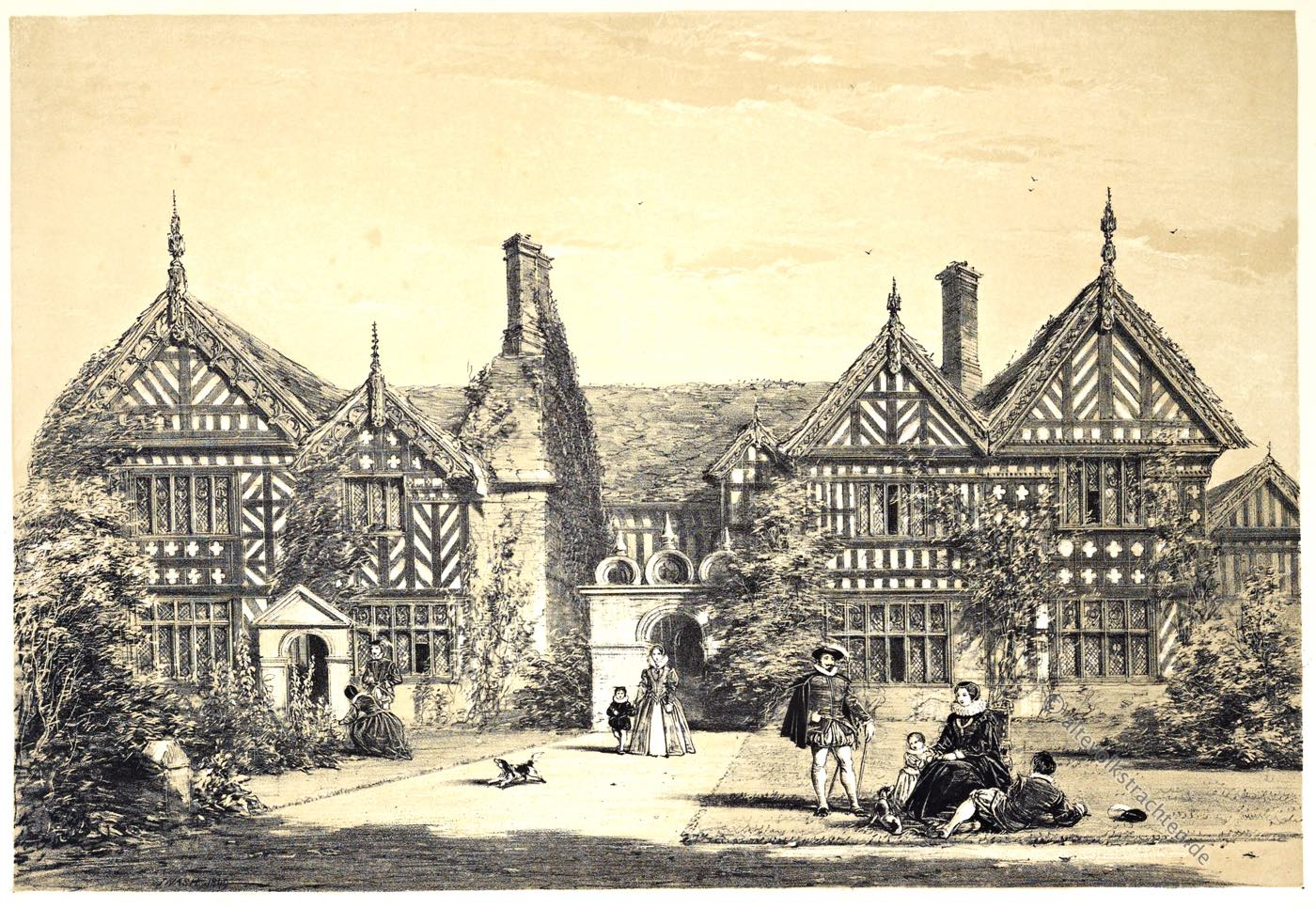 Speke, Hall, Manson, Lancashire, Gartenfront, Tudor, Architektur, Elisabethanisch, Renaissance, Joseph Nash,