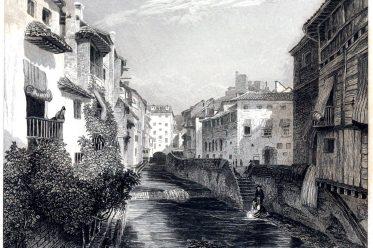 Ansicht, Granada, Andalusien, Zeichnung, Illustration, Ballade, Lord Byro,,