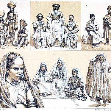 Indien, Kaschmir. Kostüme der Tänzerinnen, Fürsten, Soldaten, Ureinwohner.