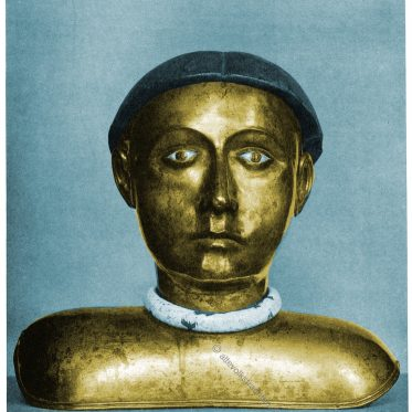 Kopfreliquiar mit burgundischer Haartracht, vergoldet. Prag 14. Jh.