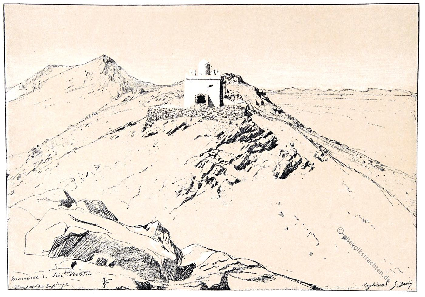 Marabou, Eugène Fromentin, Sufi, Heiliger, Grabmal, Wüste, Laghouat, Maghreb