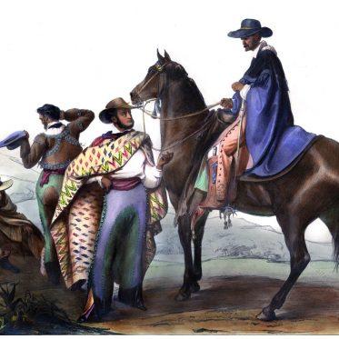 Rancheros mit Sombrero und Poncho von Carl Nebel. Mexiko.