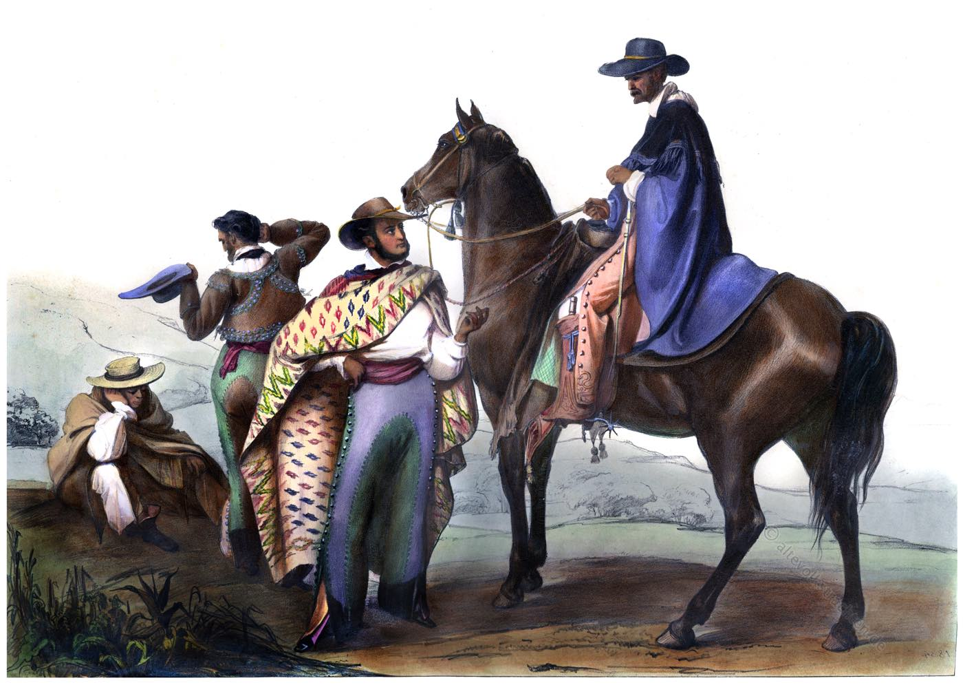 mexiko, rancheros, kostüme, kleidung, spanisch, Carl Nebel,