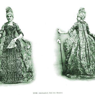 Kostüm des Rokoko mit Schnittmuster. 18. Jahrhundert.