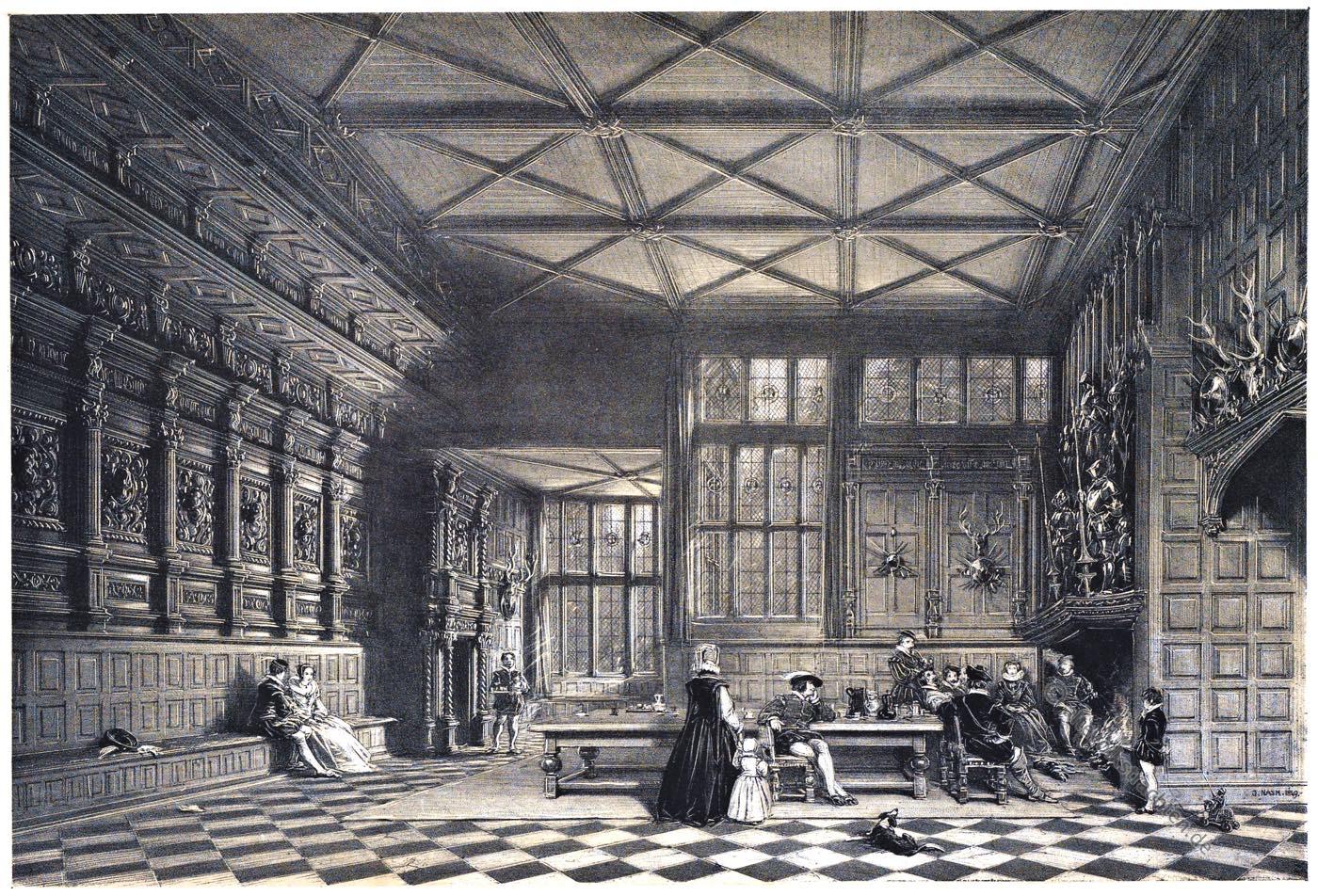 Halle, Saal, Speke, Hall, Manson, Lancashire, Tudor, Architektur, Elisabethanisch, Renaissance, Joseph Nash, Tudorstil