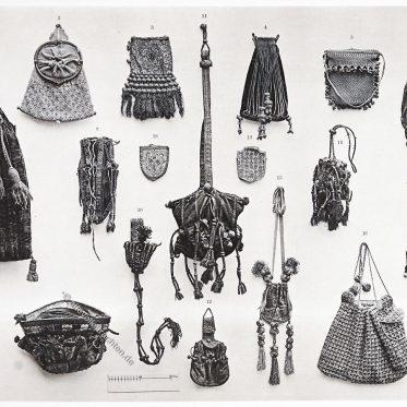 Taschen vom 15. bis zum 17. Jh. Kuriertasche, Beutelchen, Zugtasche.
