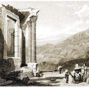 Italien. Antiker Tempel der Vesta in Tivoli von J. D. Harding.