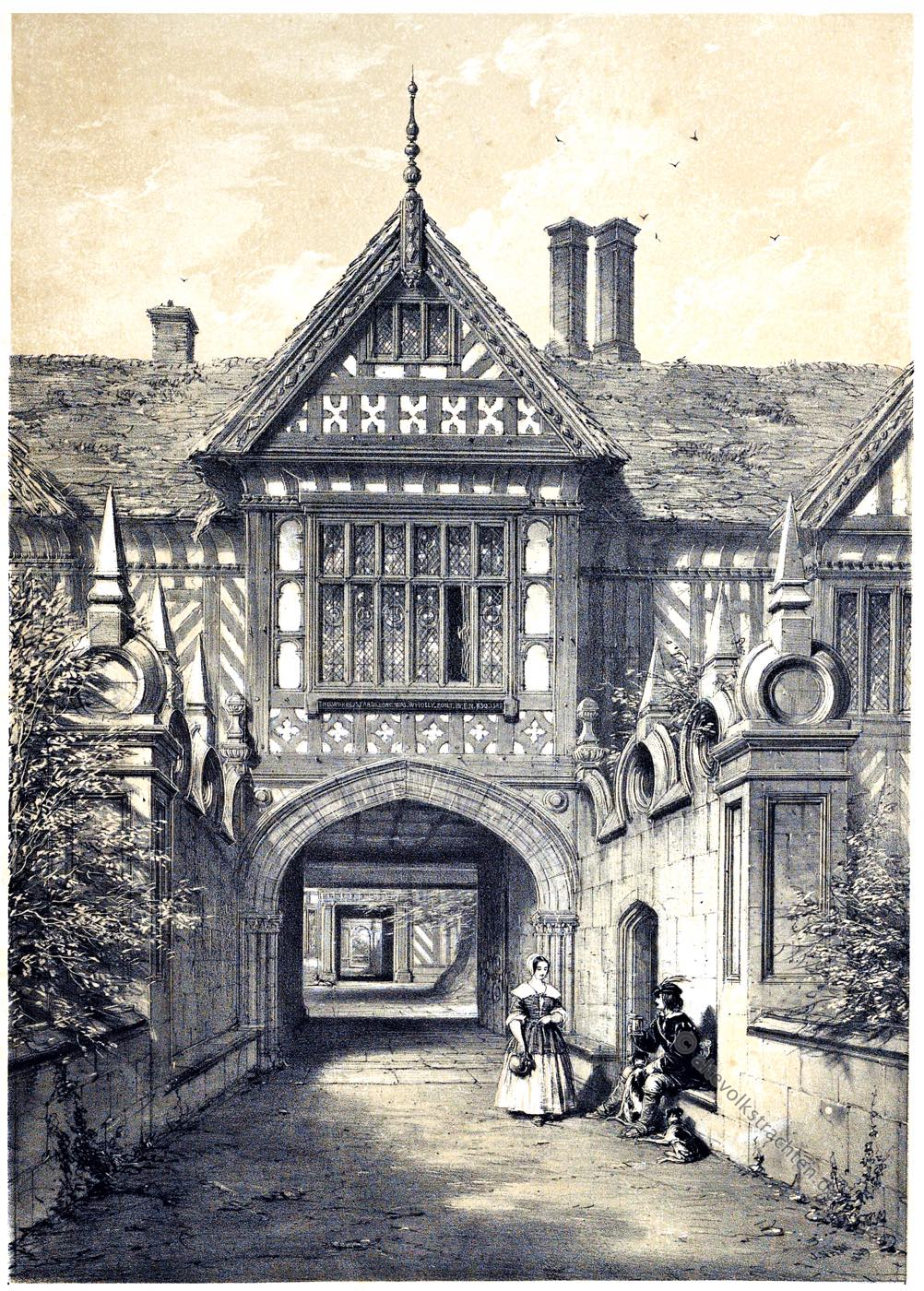 Hofeinfahrt, Speke, Hall, Manson, Lancashire, Tudor, Architektur, Elisabethanisch, Renaissance, Joseph Nash, Tudorstil