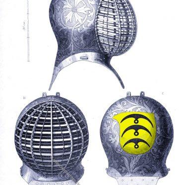 Turnierhelm mit dem Wappen der Herren von Stein.