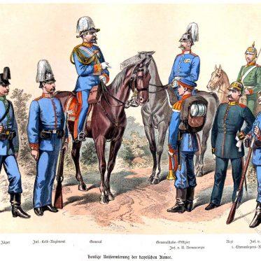 Königreich Bayern. Uniformierung der bayerischen Armee um 1897.