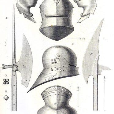 Helm und Stangenwaffen aus der zweiten Hälfte des XV. Jahrhunderts.