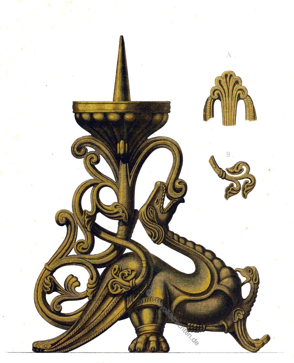 Hefner-Alteneck, Bronzeleuchter, Mittelalter, Handwerk, Kirchengerät, Kunsthandwerk,