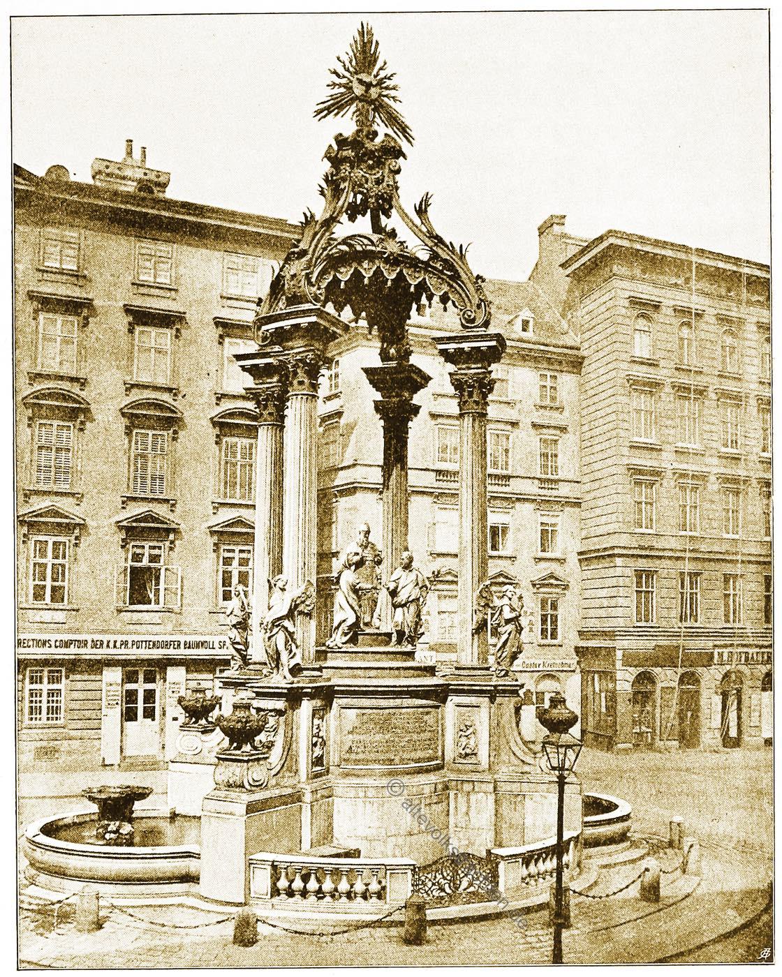 Brunnendenkmal, hoher, Markt, Joseph Emanuel Fischer, Wien, Brunnen, Österreich, Architektur, Hartwig Fischel,