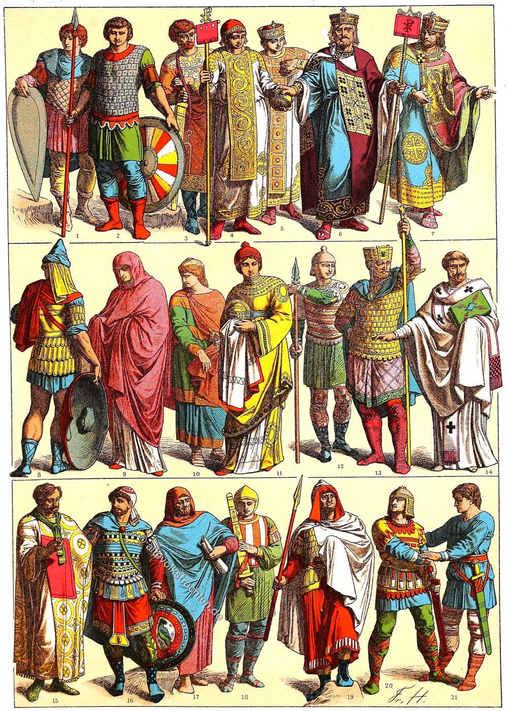 gewandung, Byzanz, Friedrich Hottenroth, Kostüme, Trachten