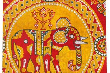 Seidenstoff, Byzanz, Textildesign, Mittelalter, Elefanten, Stoffmuster,