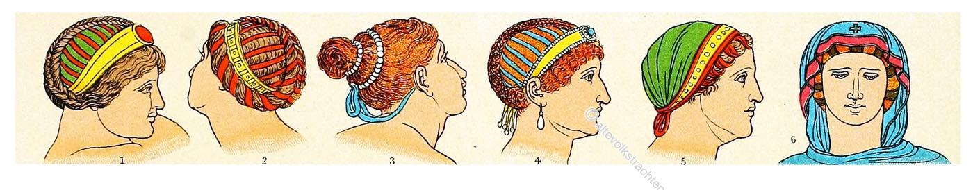 Byzanz, Kostümgeschichte, Frisuren, Kopfbedeckung, Byzantinerinnen,