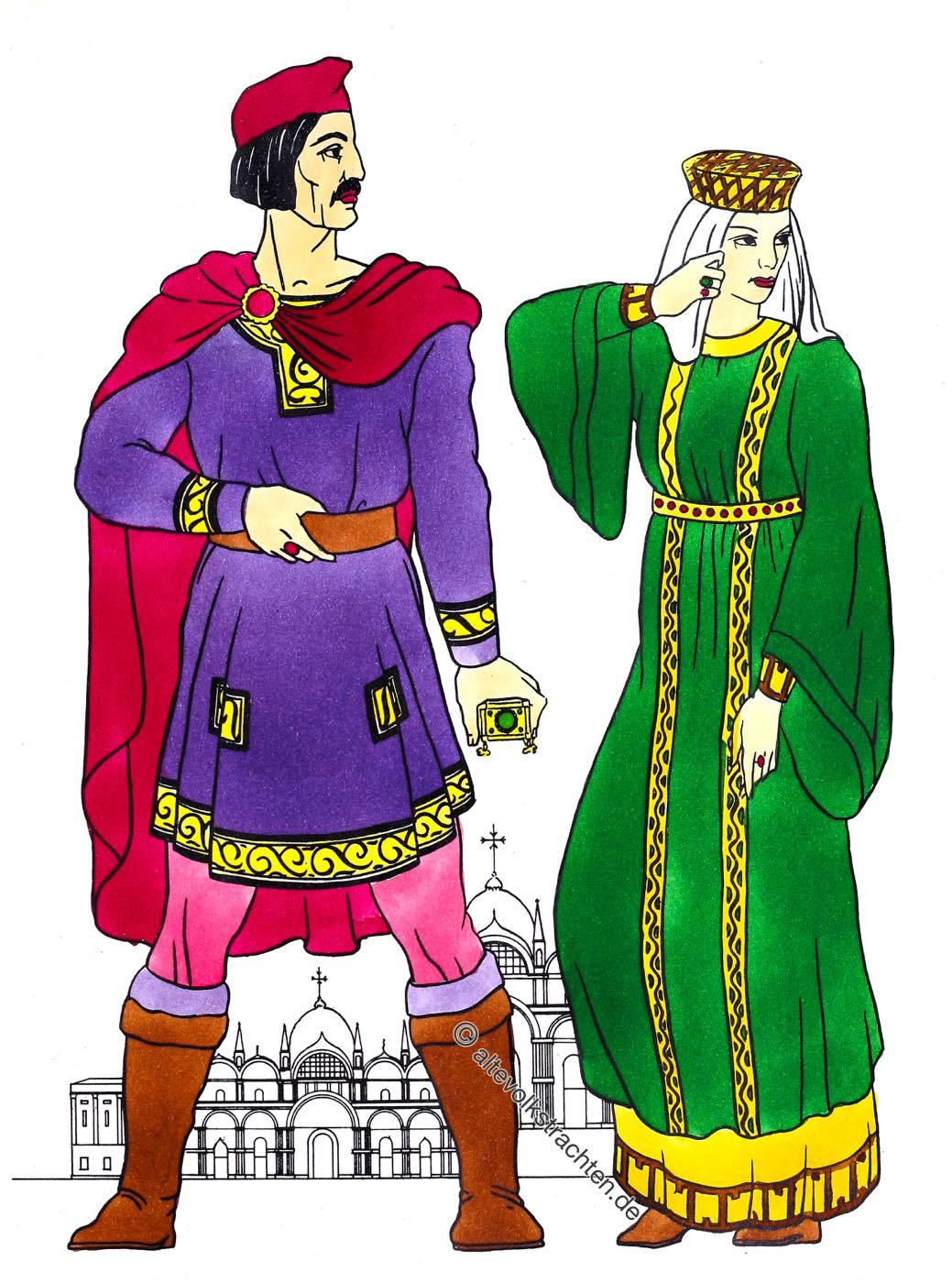 Kostümgeschichte, Tunika, Braccae, Bracca, Hosa, Byzanz, Kleidung, Kostüme, Bürgertum, Mittelalter