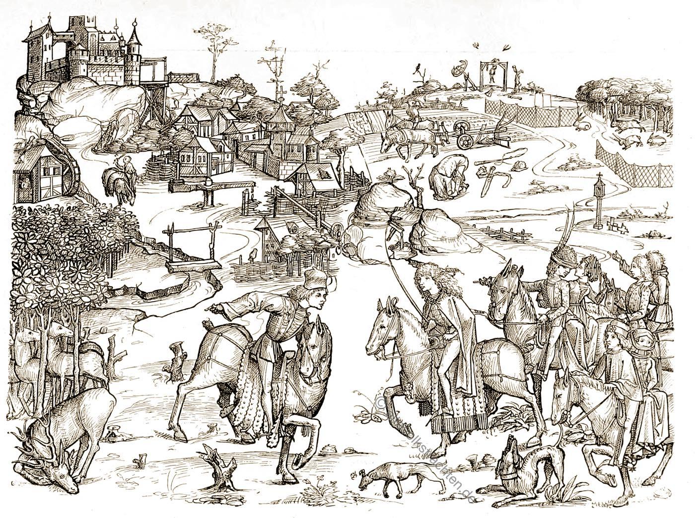 Mittelalter, Dorf, Hausbuch, Schloss, Wolfegg