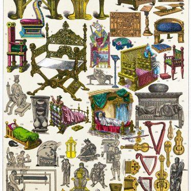 Fränkische Kultur im Mittelalter. Kunsthandwerk, Mobiliar, Instrumente.