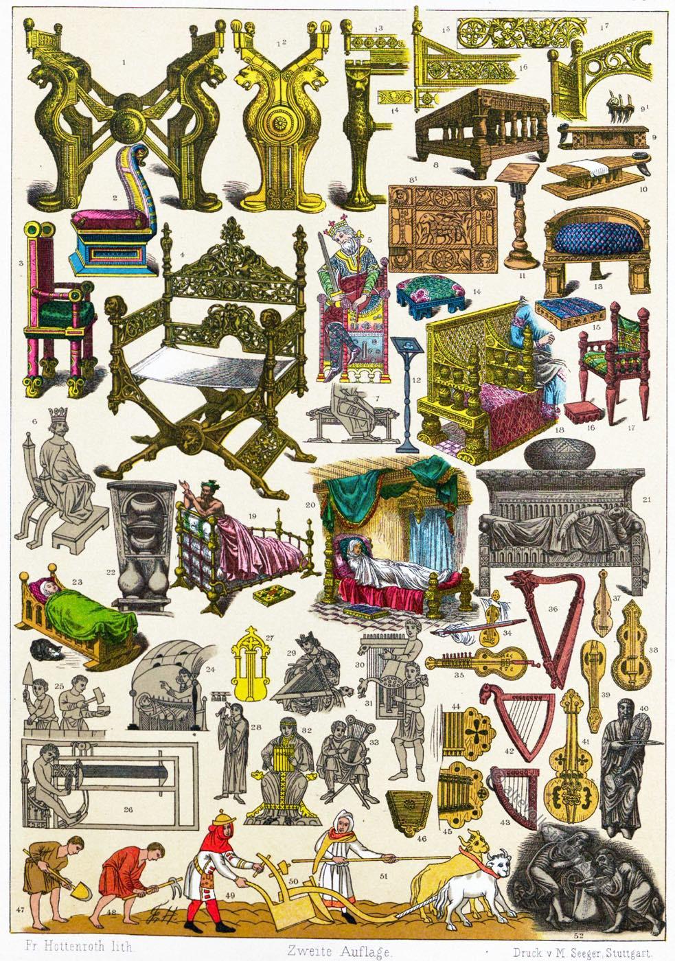 Franken, Frankenreich, Mittelalter, Thronsessel, Mobiliar, Musikinstrumente, Gewandung,