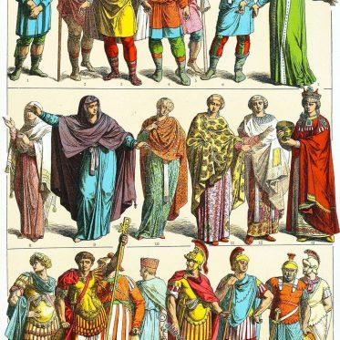 Ostrom. Frühbyzantinische Ära. Kleidung der Frauen und Männer.