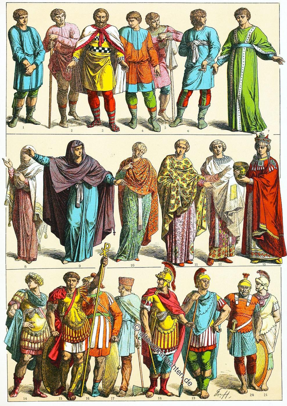 Byzanz, Kostüme, Kleidung, Ostrom, Friedrich Hottenroth, Gewandung