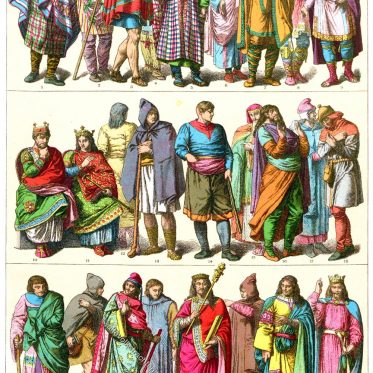 Herrscherornat der Karolinger. Kleidung der Franzosen im Mittelalter.
