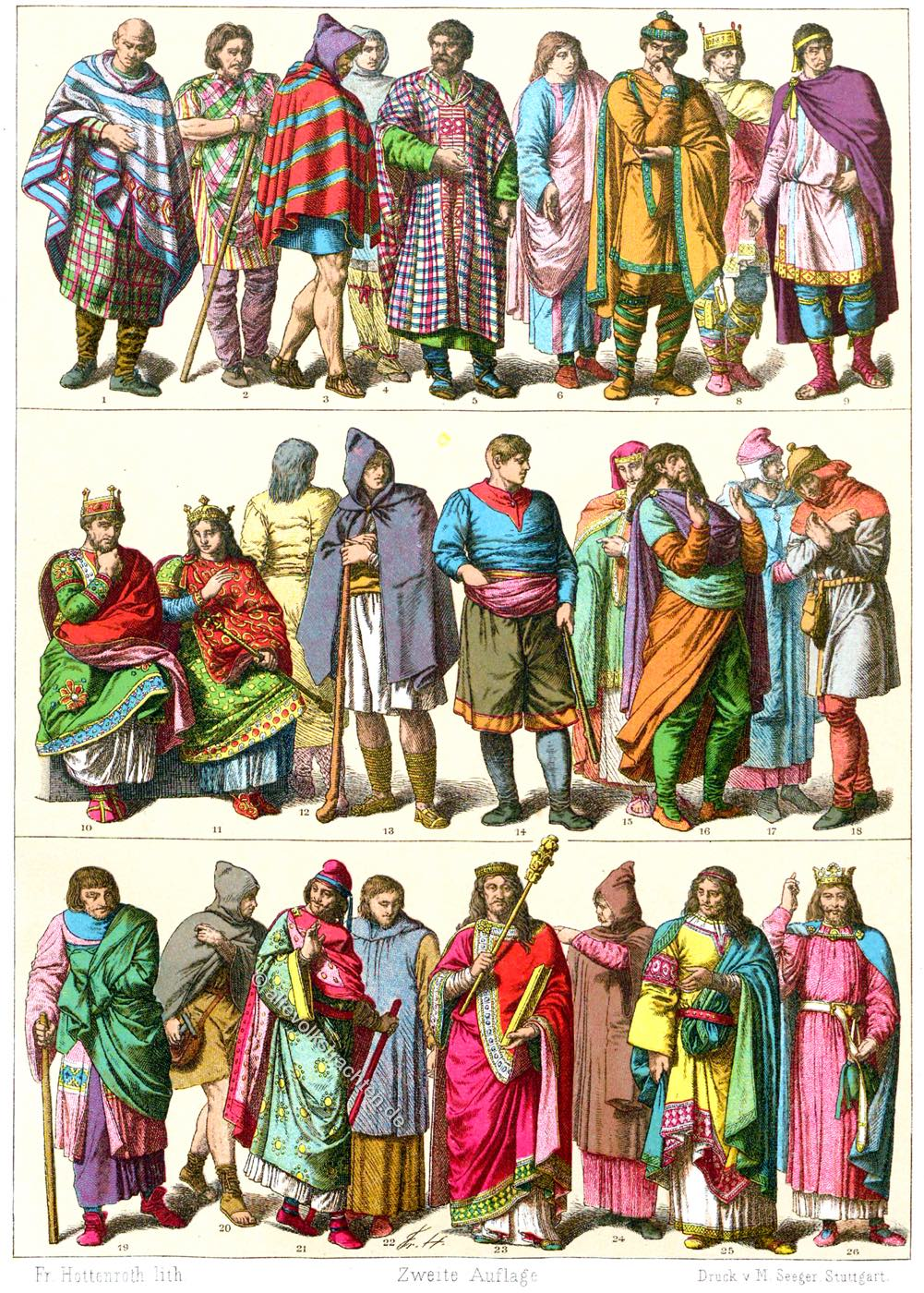 Gewandung, Mittelalter, Franzosen, Herrscherornat, Karolingerzeit, Friedrich Hottenroth