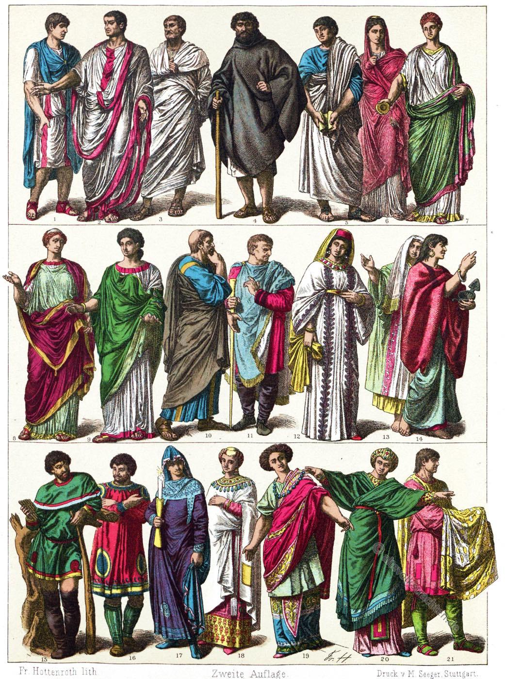 Friedrich Hottenroth, Gewandung, Antike, Mittelalter, Italiener, Römer, Byzanz, Urchristen,
