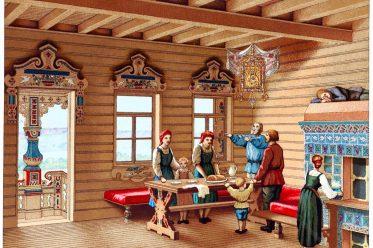 Russland, Izba, Wohnhaus, Holz-Landhaus, Muschik, Auguste Racinet