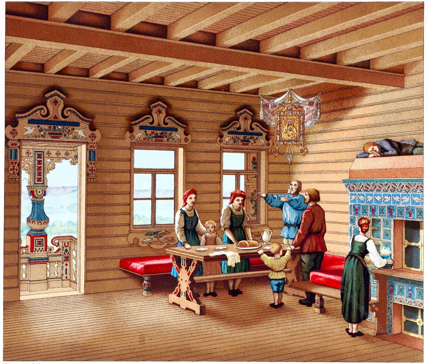Russland, Izba, Wohnhaus, Holz-Landhaus, Muschik, Auguste Racinet, Haustypus,