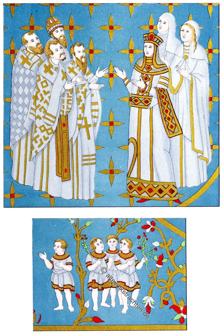 Kaiserdalmatika., Dalmatika, Ornat, Mittelalter, Papst, Leo III, Hefner-Alteneck,