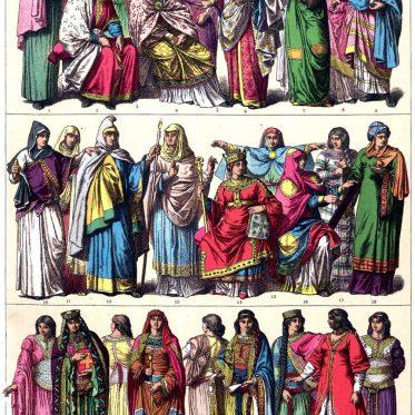 Frankreich. Frauenkleidung. Karolinger, Kapetinger im Mittelalter.