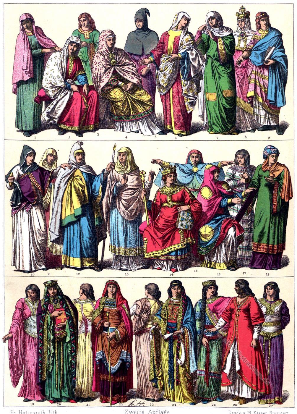 Gewandung, Karolinger, Kapetinger, Mittelalter, Gotik, Kostüme, Mode, Frankreich,