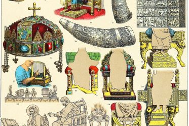 Kunstgegenstände, Byzantiner, Thron, Möbel, Kriegshörner