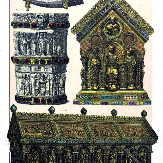 Elfenbeinhorn, Weihwassergefäss, Reliquienschrein, Mittelalter, Kunstschätze, Friedrich Hottenroth