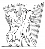illustration, löwe, engel, donkey, lion,