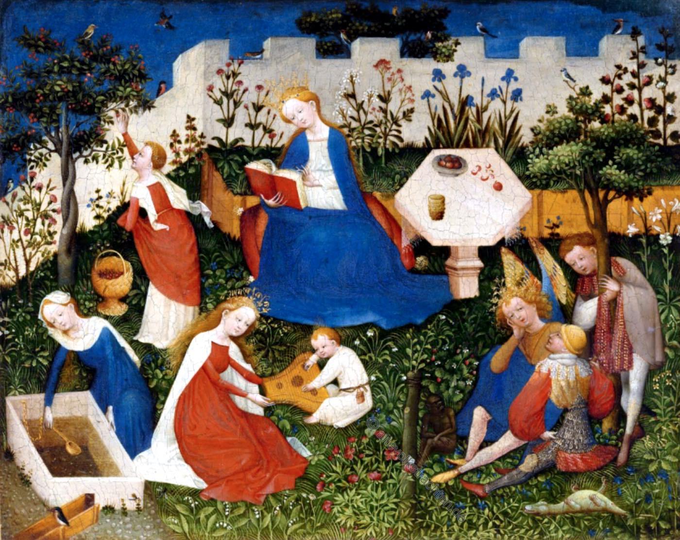 Maria, Rosengarten, Mittelalter, Garten, Gemälde