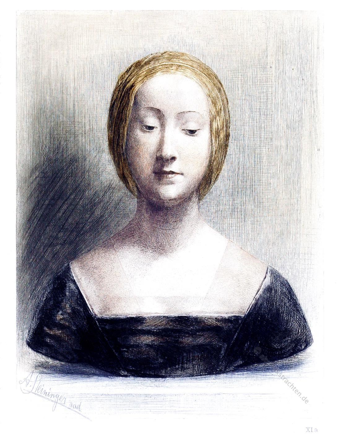 Italien, Renaissance, Marmorbüste, Florentinerin, August Steininger, Polychrom
