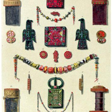 Merowinger Grabfund. Schmuck, Waffen und Juwelen.