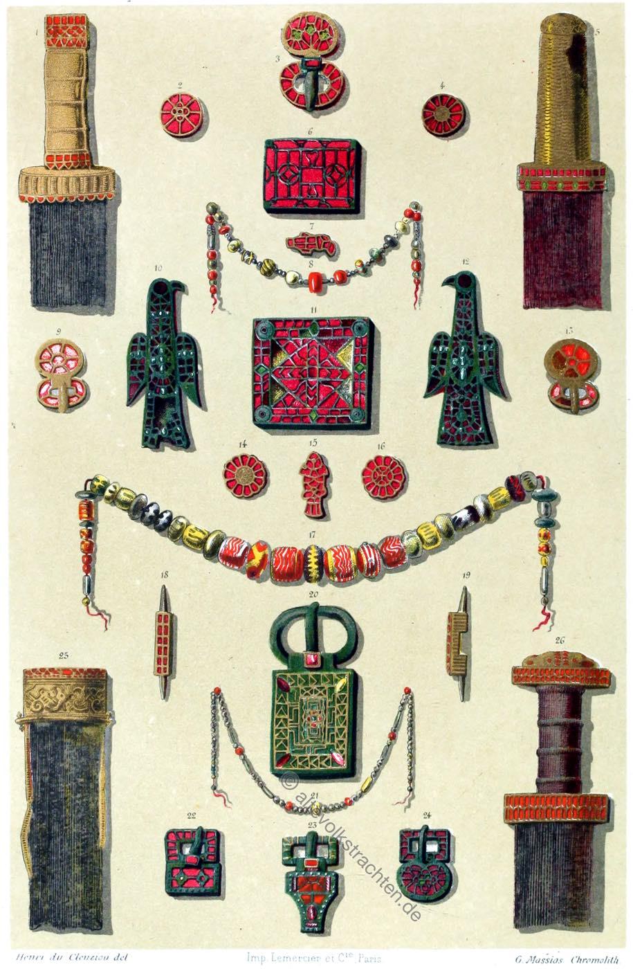 Merowinger, Grabfund, Waffen, Juwelen, Schmuck