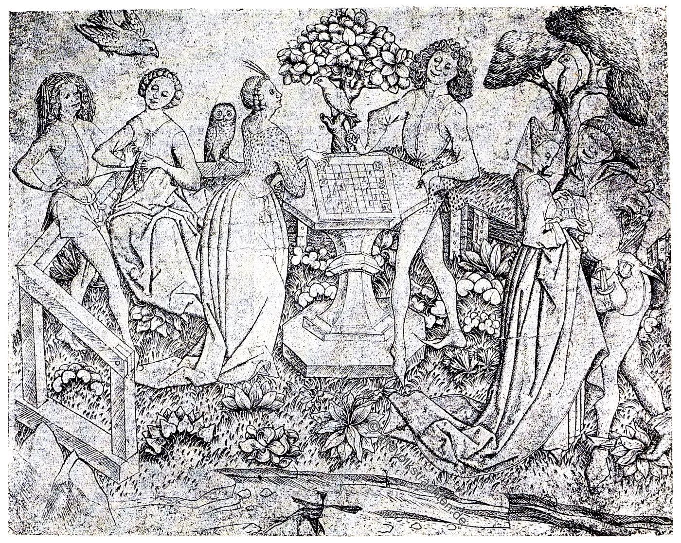 Maître de la Sibylle, Mittelalter, Gartenvergnügen, Gartenanlage