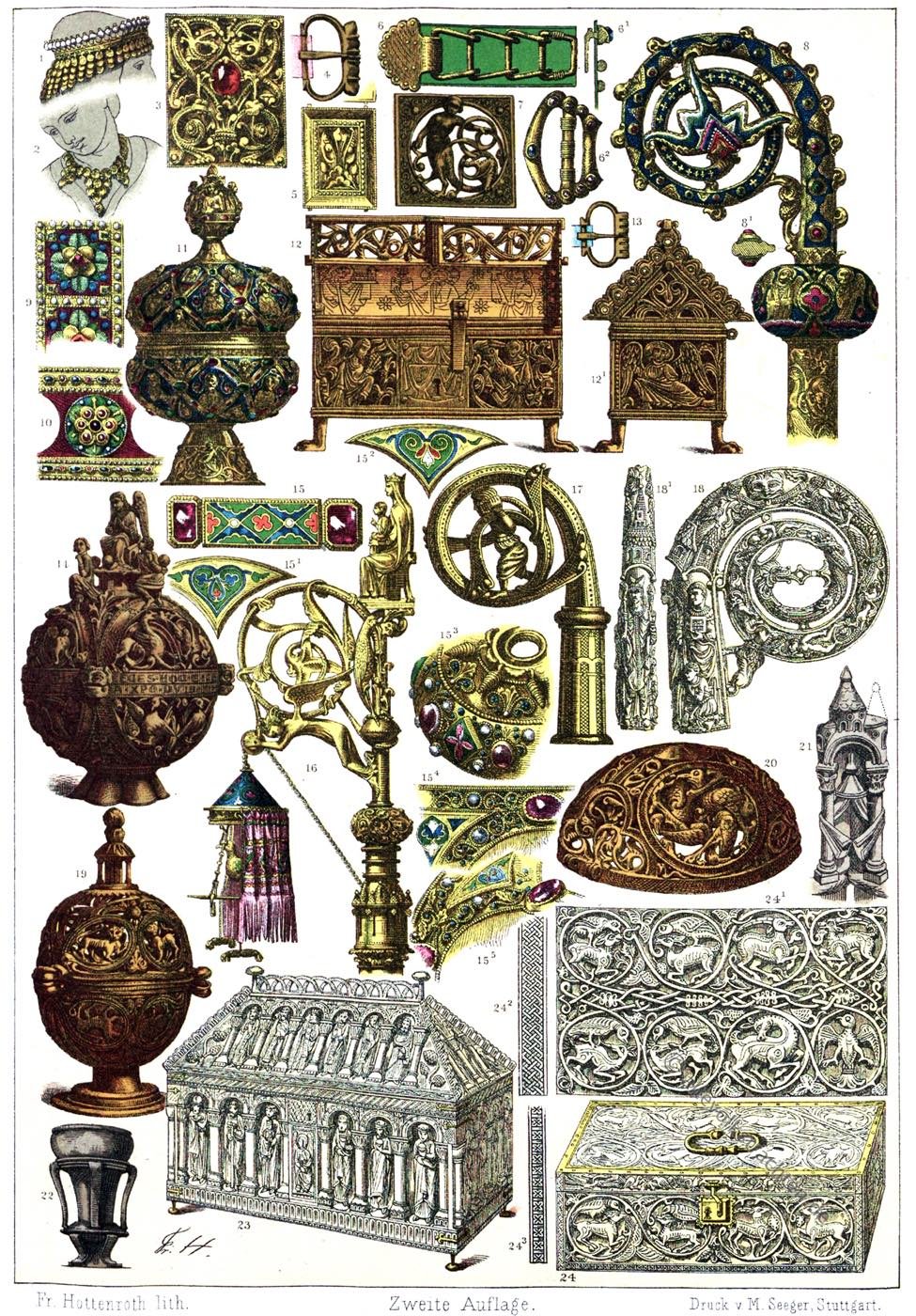 Friedrich Hottenroth, Kunsthandwerk, Mittelalter, Frankreich, Schmuck, gotik, Romanik, Ornamentik