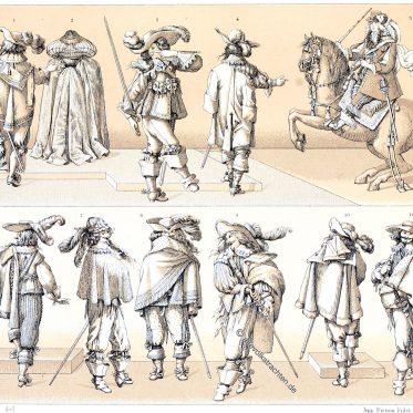 Frankreich. Die verschiedenen Arten, den Mantel à la balagnie zu tragen.