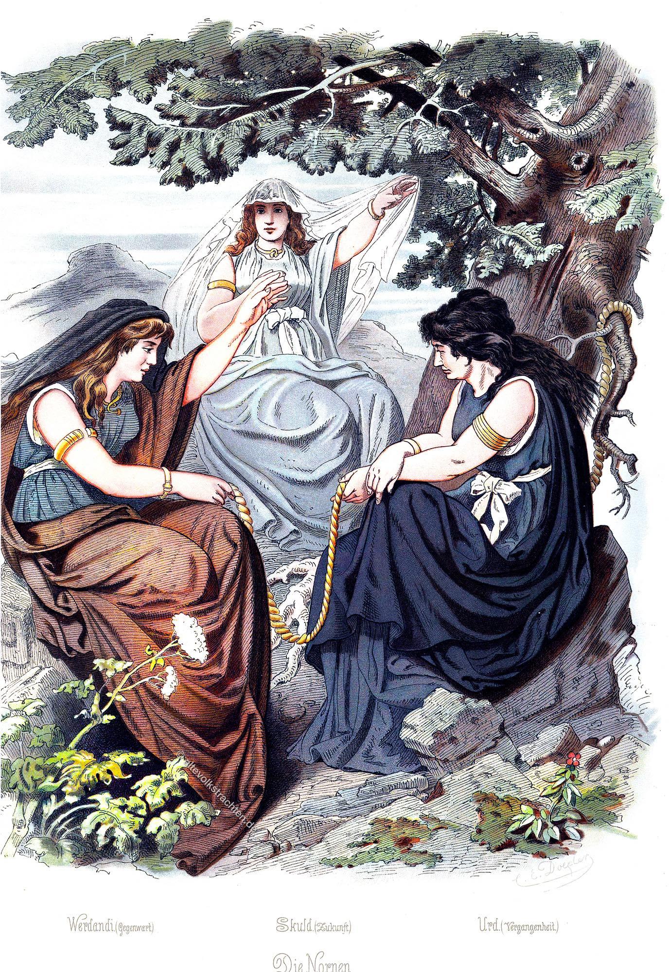 Rheingold, Nornen, Mythologie, germanische, Schicksalsgöttinnen, Werdandi, Skult, Urd