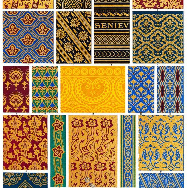 Ornamentale Verzierung, Dekoration, Mittelalter, Stickereien, Muster, Einlegearbeiten