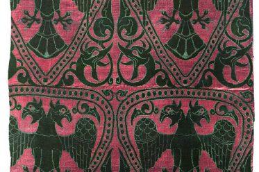 Seidenbrokat, Mittelalter, Stoffdesign, Doppeladler, Drachen, Ornament,