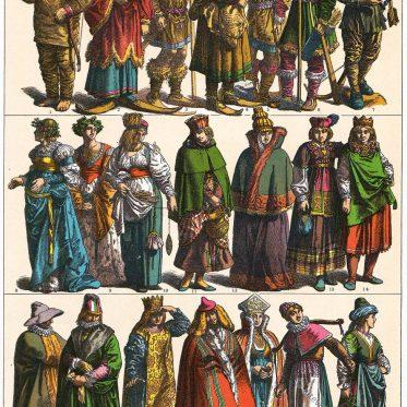 Skandinavien. Kleidung der Nordländer im 16. Jahrhundert.