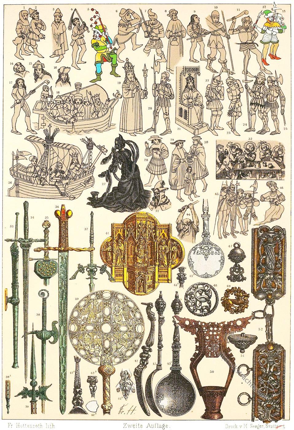Skandinavier, Krieger, Kriegsknechte, Rüstung, Bewaffnung, Nordmänner, Friedrich Hottenroth